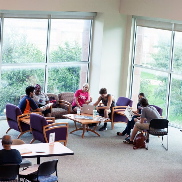 Students in the Downtown Library